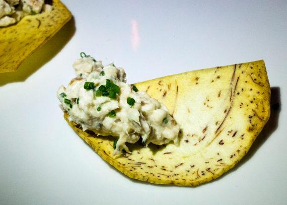 Smoked Opah rilette, Taro Chips (10.00)