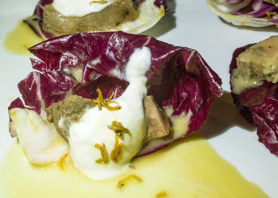 Roasted Lamb shoulder, Radicchio, Perserved lemon yogurt (17.00)