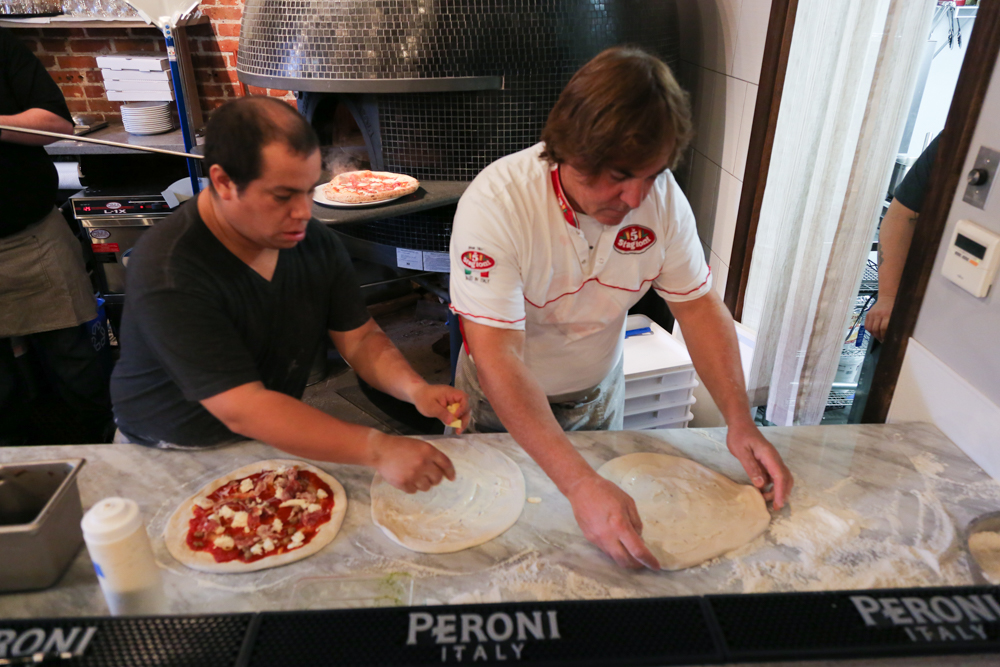 The dough made in house is hand-stretched and made to order.