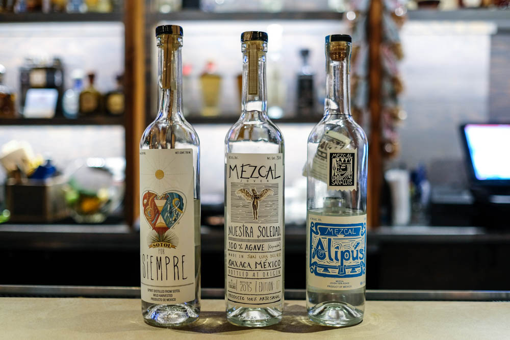 After a short Q&A about our likes, Quinn selected three mezcal for us. Starting from the right with the buttery and spicy Alipus San Miguel from Oaxaca and graduating to the petroleum-esque, full-bodied Sotol pour Siempre, made from a plant called desert spoon.