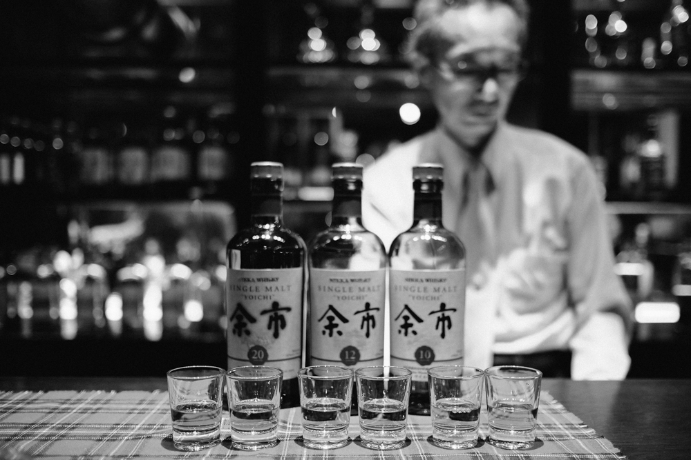 We tried the 20-year, 12-year and 10-year single malt Yoichi. We enjoyed the smooth subtle smokiness of the 12-year the most. The 20-year is very peaty and has aromas of coal, spice and some honey.