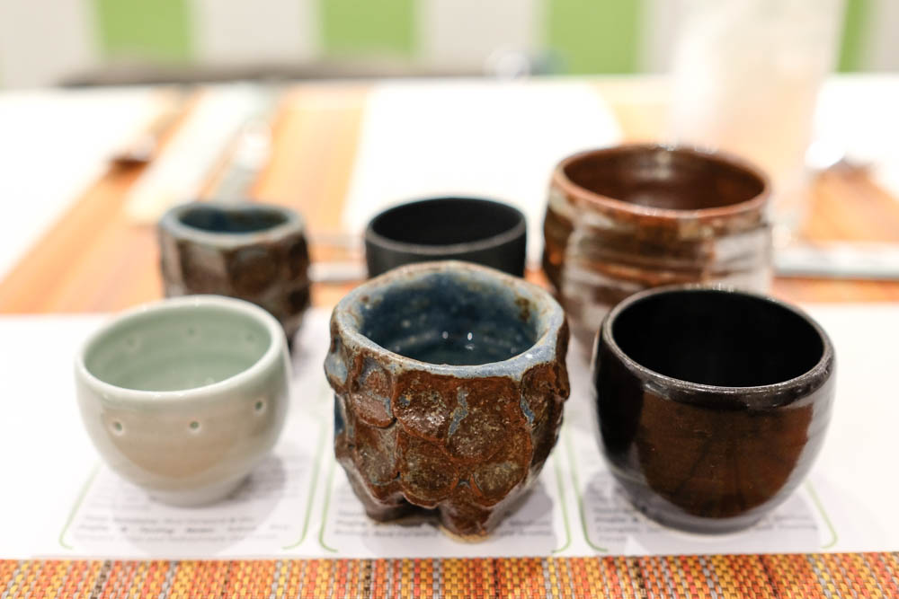 Sake cups made by Ashley Huang, Jon Vongvichai and Daven Hee.