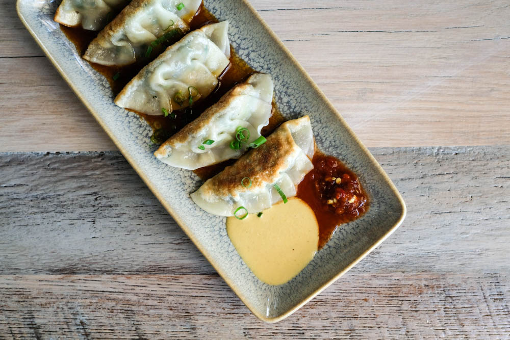 I could indulge in these pork potstickers ($10) all day, especially with hot mustard and that habanero pineapple marmalade. These are $5 on happy hour.