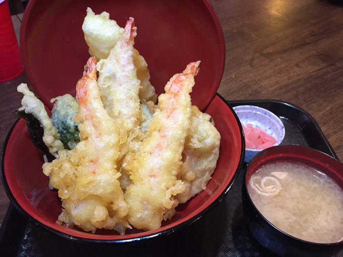 The deluxe tempura don, $15.95. This comes with three pieces of shrimp tempura instead of the above two.