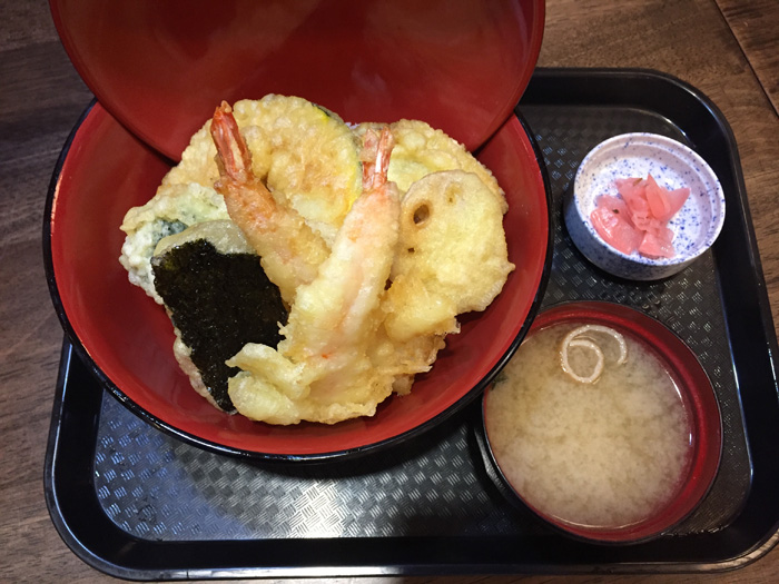 The best-selling ebi tempura don, $11.95 at grand opening, $12.95 thereafter. This comes with two pieces of shrimp, sweet potato, renkon, pumpkin, nori and seasonal veggies. Oh, and all bowls come with miso soup and