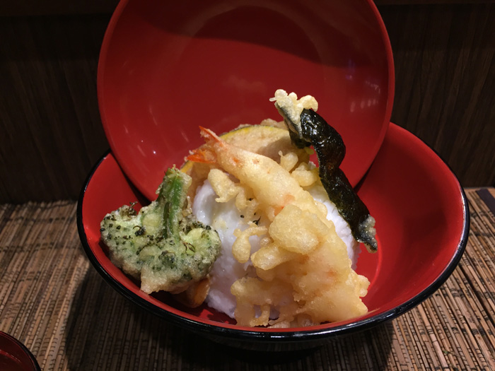 Tempura don, $10.95, includes shrimp, kabocha, nori and broccoli.