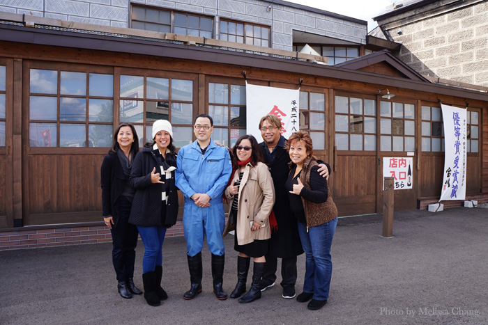 At Tanaka Sake, from left: Yumi Ozaki, Olena Heu, our guide Koji, Deb Aoki, Pali Kaaihue and me.
