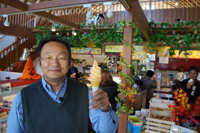 Hokkaido is famous for their yubari melon, so of course they had yubari soft serve. Mr. Machimura offered us a cone.