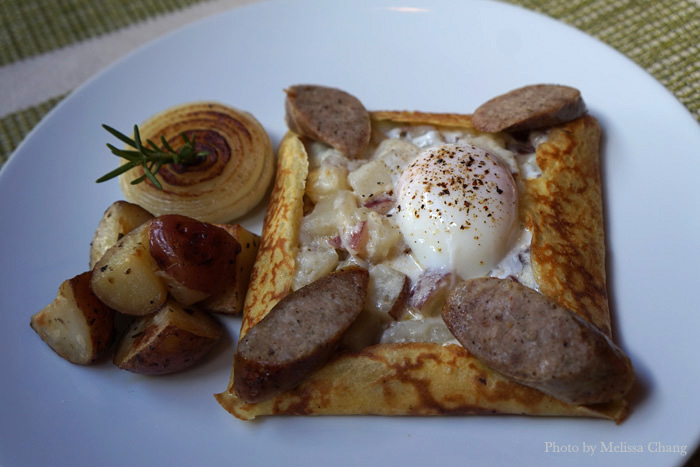 The salsiccia Italian breakfast crepe ($13.95) isn't new, but they've tweaked the presentation a bit to make it heartier. This is a classic favorite, with Italian sausage, poached egg, red potatoes, mozzarella and emmentaler cheeses, and Alfredo sauce.