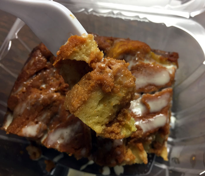 Real pumpkin pie filling is used to make this seasonal bread pudding.