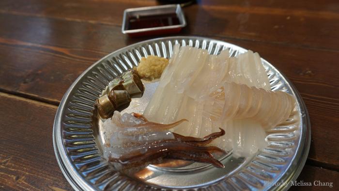 Live squid sashimi, 1500 yen.