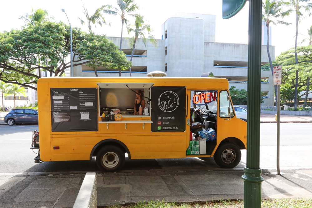 Find the Sistah Truck in front of the Department of Taxation weekdays during lunch.