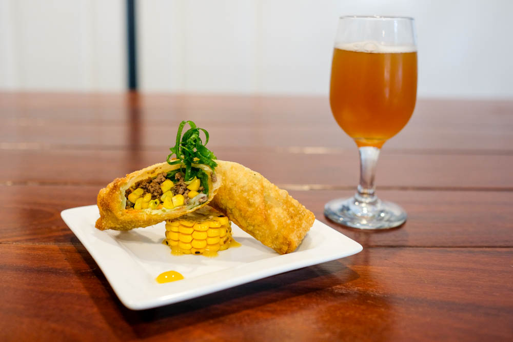 Square Barrels' Chef Derrick Smith is preparing Bison & Barrel Egg Rolls to pair with Beer Lab Hawaii's Nimbus 2000 Northeastern-style India Pale Ale.