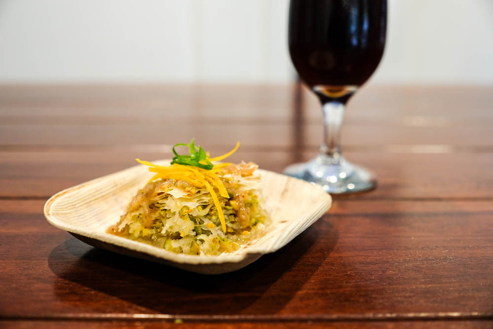 Square Barrel's Chef Sean McMonigle is making a sweet pairing of coconut pistachio baklava with a coconut fig barely coulis and Waikiki Brewing Co's First Anniversary Barely Wine from March 2016. Age has allowed this barely wine to mellow out for smooth sipping.