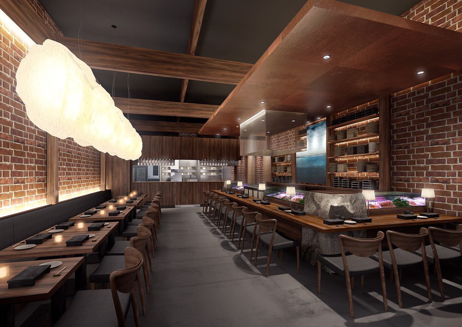 Artist rendering of the interior. Photo courtesy Yakitori Hachibei