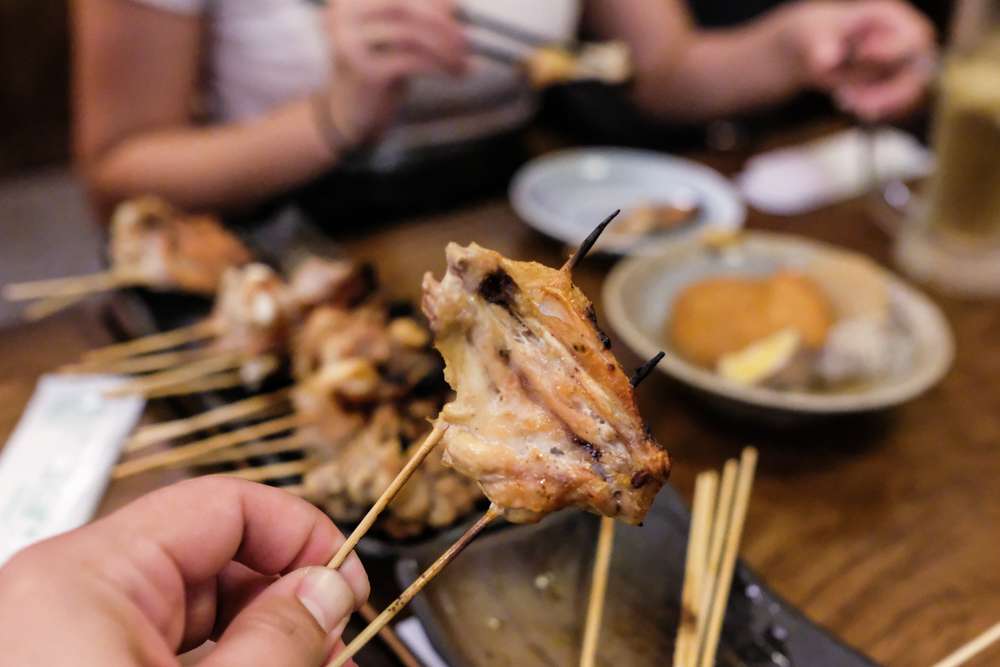 Tebasaki or wing ($1.90) is filleted and spread like, well, a wing across two kushi.
