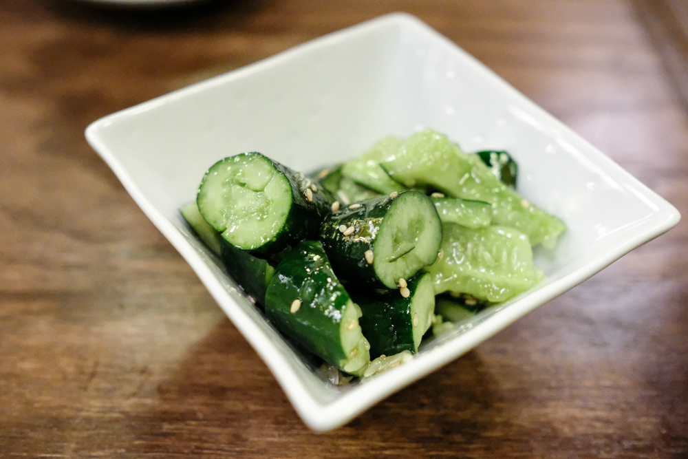 A dish simply known as Yummy Cucumber was a delicious palette cleanser between sticks.