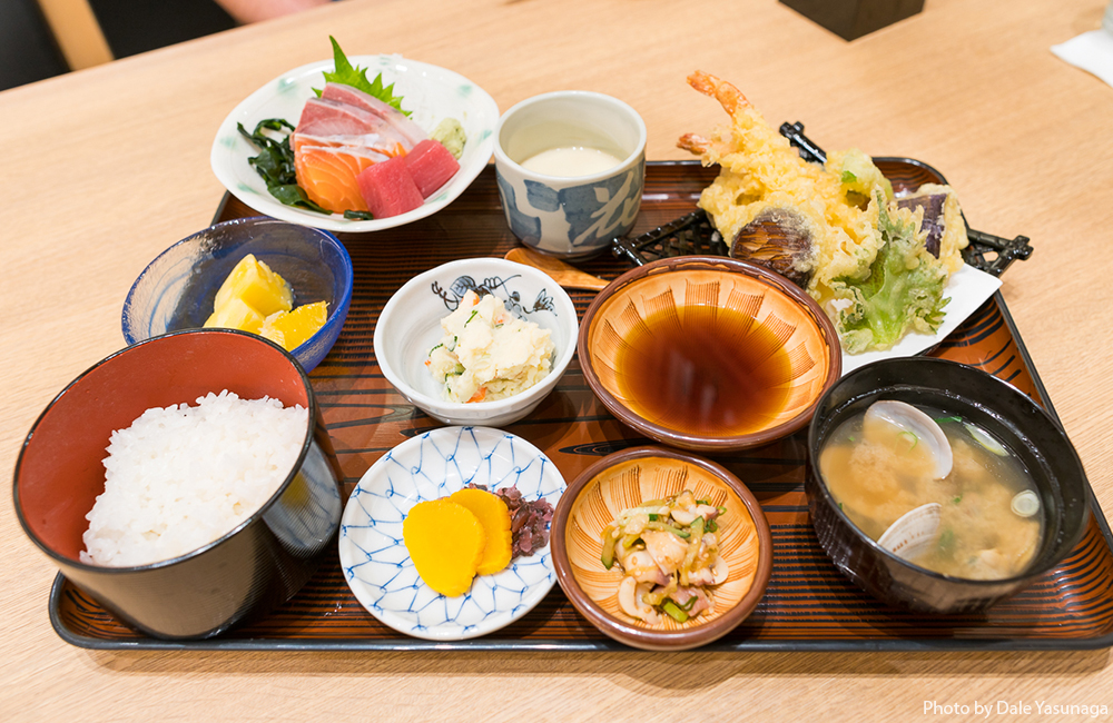 If you appreciate all the little dishes of a teishoku meal, you'll like the Katsu Gozen set ($19.50) with tempura, sashimi, potato salad, tsukemono, soup, rice and chawanmushi. Photo by Dale Yasunaga