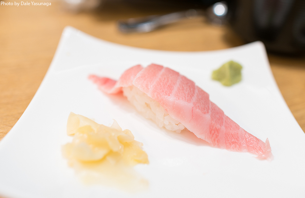 Considered the best part of the maguro, otoro or fatty tuna is highly prized. It can be had for just $5 a piece, one of the best prices we've seen in town. Photo by Dale Yasunaga