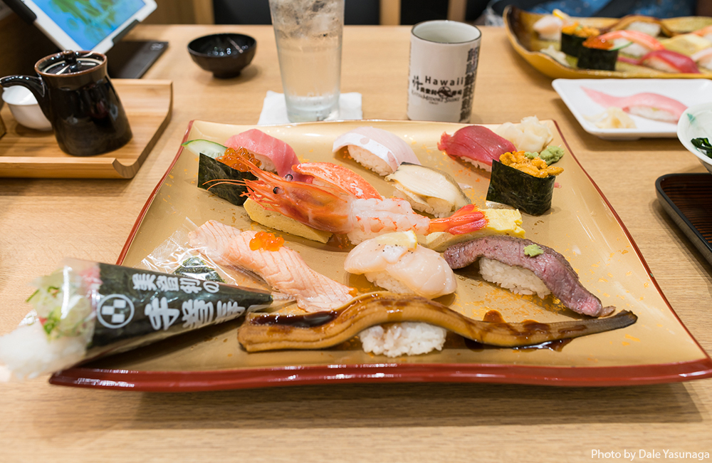 The Yokozuna set ($35) with 13 generous cuts of fish set on one platter. Photo by Dale Yasunaga