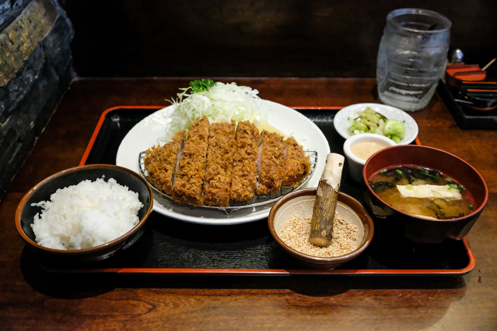 Tonkatsu Ginza Bairin's 180g thick-cut loin set is $24, while Tamafuji's is just $19.50.