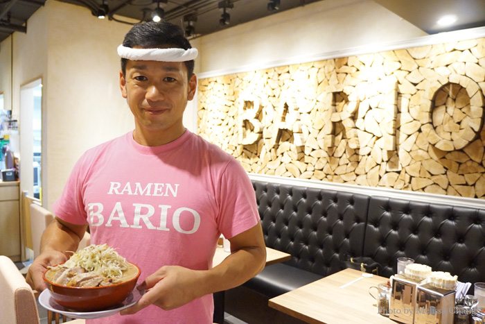 Mr. Iwasaki, founder of Bario Ramen in Shinbashi, with a bowl of his signature char siu ramen.