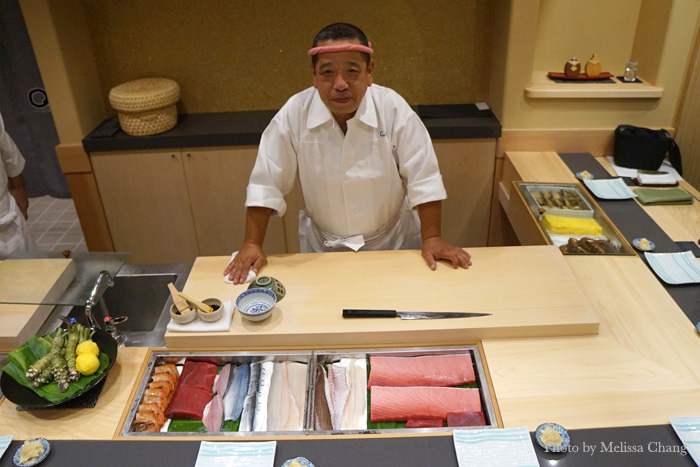 Owner/chef Takeshi Kawasaki at the nine-seat sushi bar.