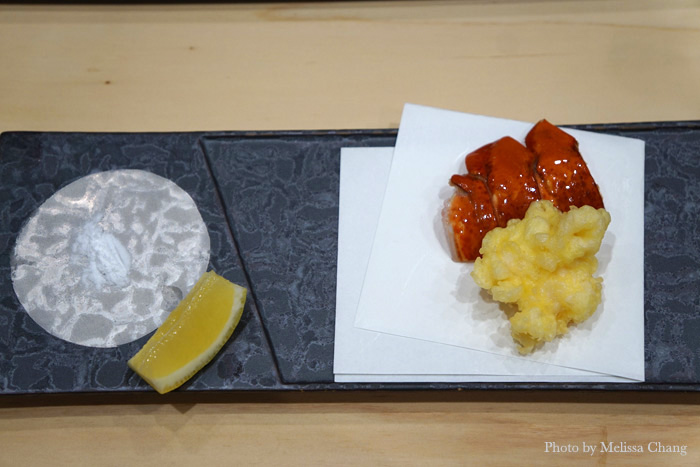 Local lobster tempura with a special, powdery-fine Japanese salt that is only slightly salty. Amazing!