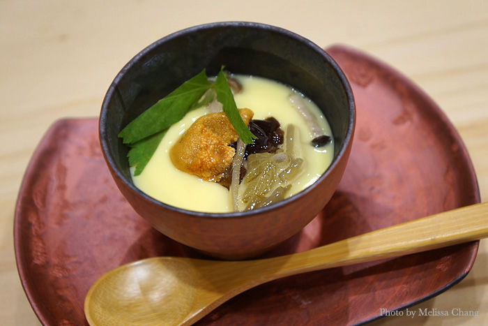 Quite possibly the best chawan mushi you'll ever have, a very light, silky egg custard with uni, shimeji mushrooms, and more. It has a whole medley of flavors and textures.