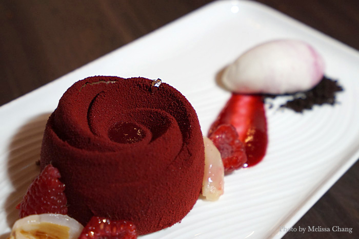 Probably the most-photographed dessert, the raspberry delice is a very sweet rose-shaped gateau. It's comprised of a flourless dark chocolate sponge cake and raspberries.