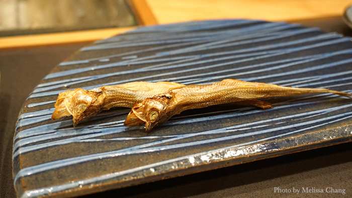 Another intermezzo, special smelt that's been salted and dried. This is very good with sake!