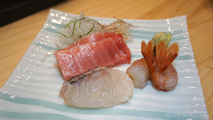 An assortment of sashimi to start: chutoro (fatty tuna), flounder and amaebi.