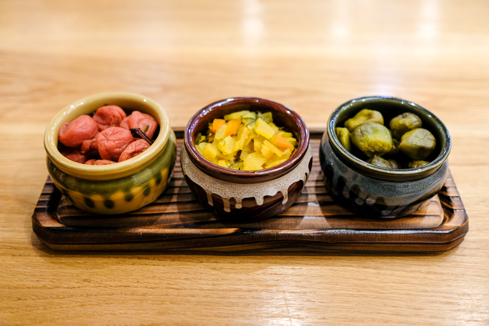 Unlimited pickles include umeboshi, takuan and baby eggplant.