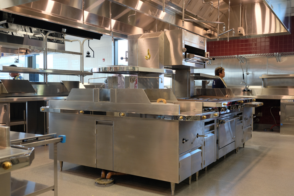 Each cooking station includes industrial restaurant-quality equipment, similar to what students may encounter outside of school.
