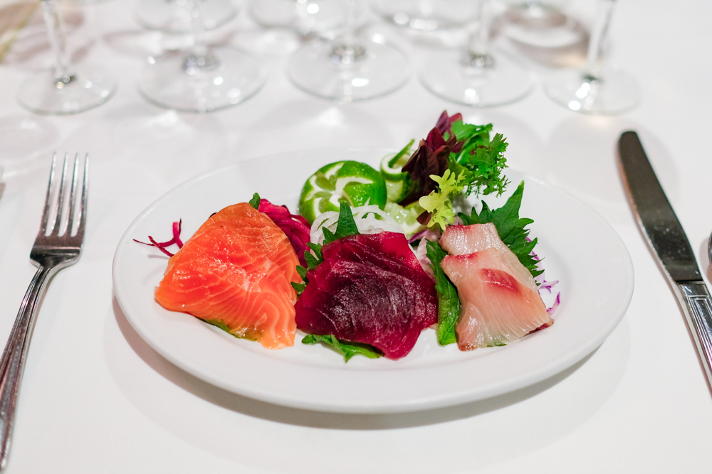 The first course was a trio of fresh ahi, hamachi and salmon sashimi, paired with Red Car's rose of pinot noir - an easy dinker. Rose, all day.