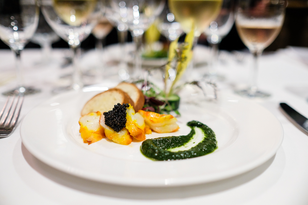 In this dish, the butter poached colossal shrimp with Big Island caviar, Chef Justin gave us a taste of his grandmother's luau recipe.