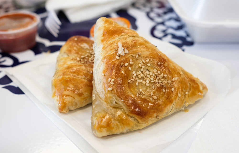The somsa ($5.45 for two) is a delicious savory pastry filled with beef and minced onions.