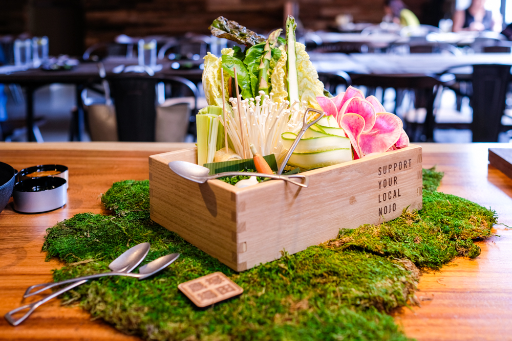 The bijin nabe with chicken and vegetables ($50) is meant to be shared amongst 2-3 people and includes garland chrysanthemum, zucchini, watermelon radish, tofu, chives, enoki mushroom, maitake mushroom, abura-age, green onion, and tsukune meatball with tiny shovels to portion them out.