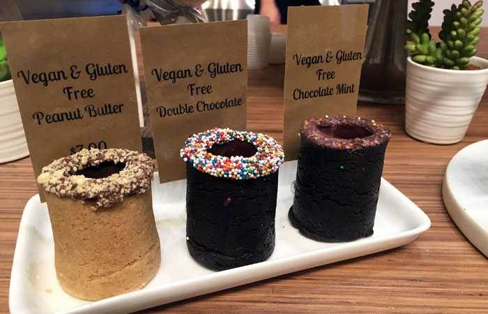 The Vegan and Gluten Free options ($7) are slightly more expensive than a regular cookie shot ($5.50), but the cookie still tastes great.