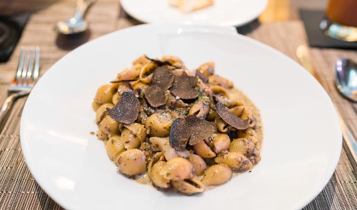 Conchiglie with Scallops & Tuffle cream - Hokkaido scallops, shell pasta, truffles, mushroom cream sauce ($42)