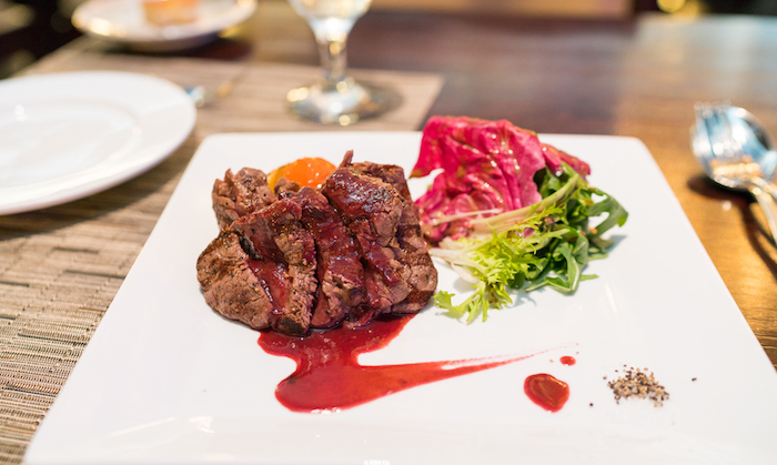 Wagyu Filet Mignon - Grilled Wagyu fillet, red wine beet sauce ($48)