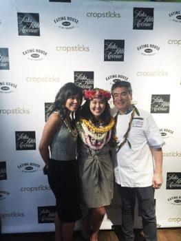 Shelley Tadaki Cramer of Saks Fifth Avenue, Mylen Fe Yamamoto and Chef Roy Yamaguchi.