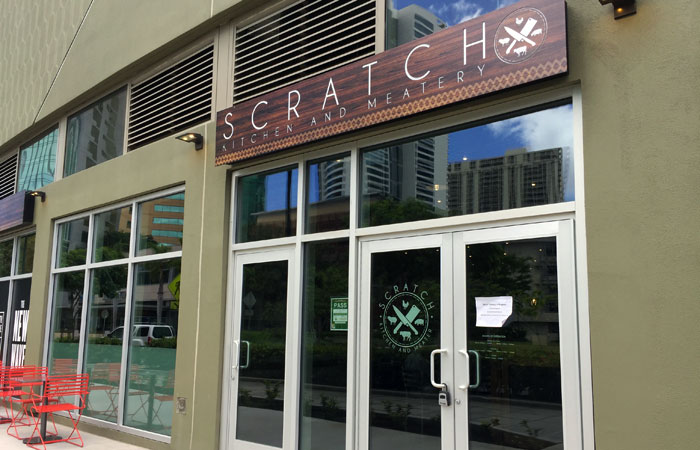 Scratch Kitchen and Meatery is located in South Shore Market, but the entrance is from Auahi Street.
