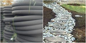 French drain pipe and garden path installation