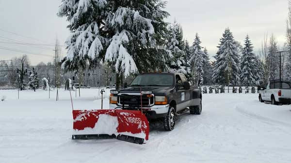 Oncoming truck with snow plow