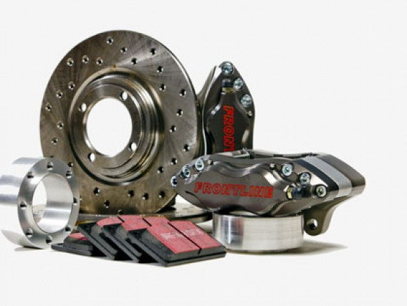 4-pot alloy brake kit with cross drilled discs