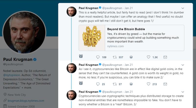 Op Ed: Here's What Paul Krugman Got Wrong in His Bitcoin Tweetstorm
