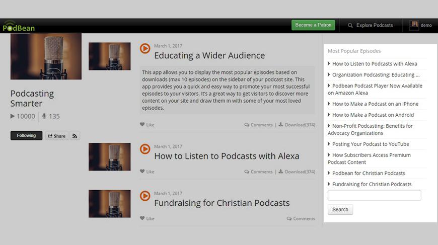 Podcast plugin - Most Popular Episodes Widget   Podbean