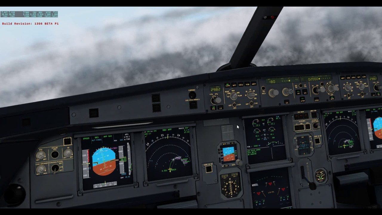 FF A320 RNV Approach In Rain With Effects