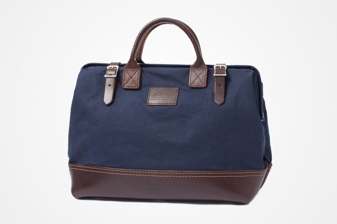 leather and duck canvas weekend bag